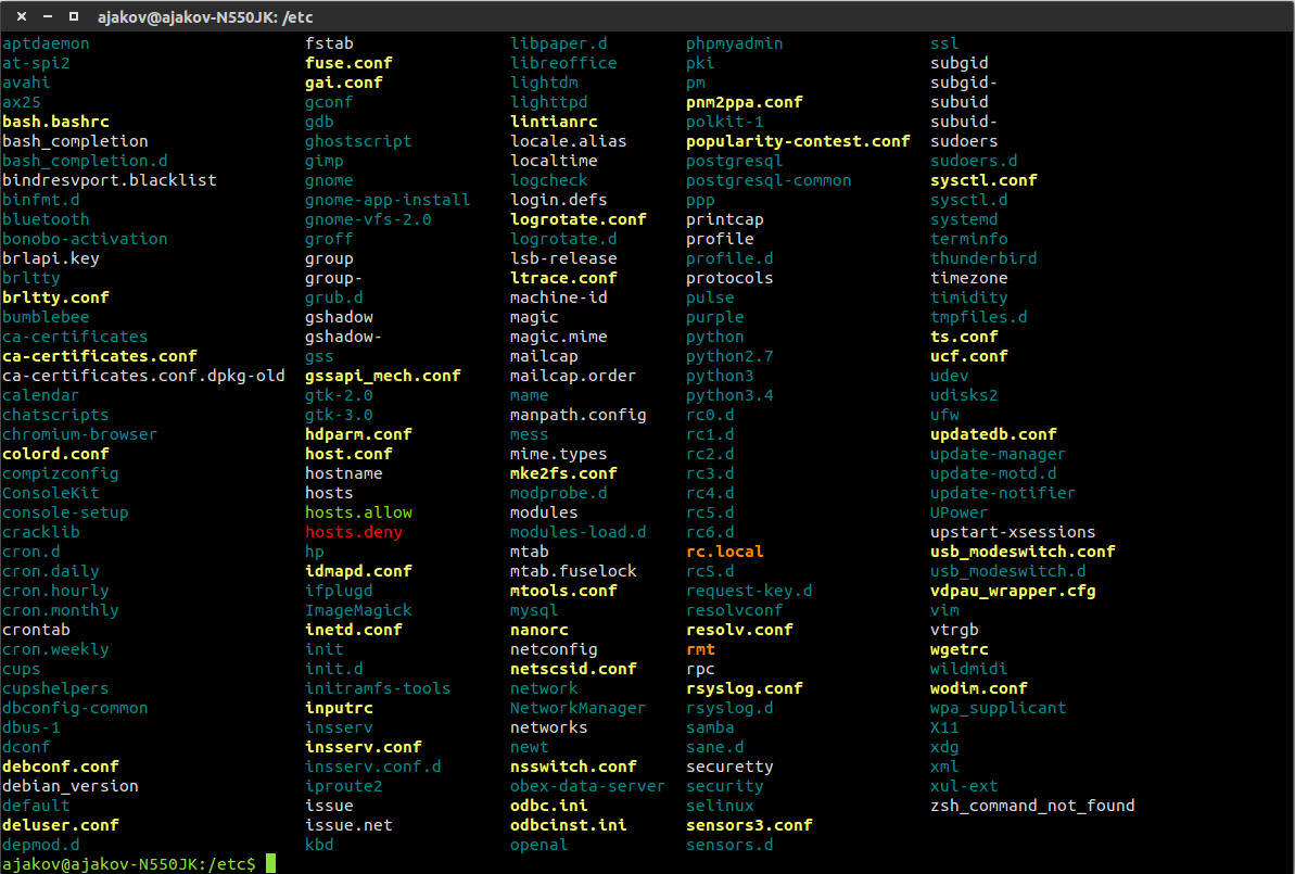 Bash shell with different colors